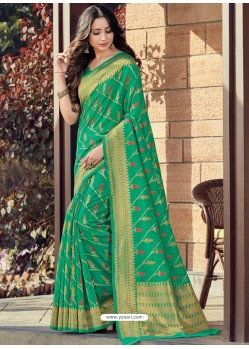 Jade Green Designer Party Wear Cotton Handloom Sari