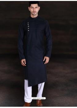 Black Readymade Designer Cotton Kurta Pajama For Men