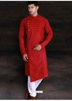 Red Readymade Designer Cotton Kurta Pajama For Men