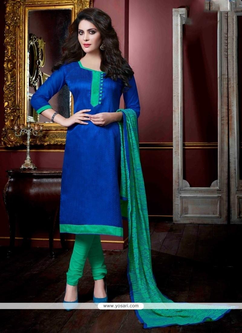Radiant Jacquard Lace Work Churidar Salwar Kameez