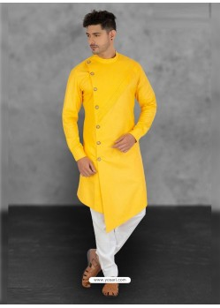 Yellow Designer Festive Wear Cotton Kurta Pajama For Men