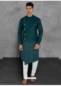 Teal Designer Festive Wear Cotton Kurta Pajama For Men