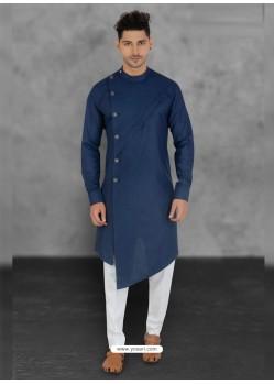 Dark Blue Designer Festive Wear Cotton Kurta Pajama For Men
