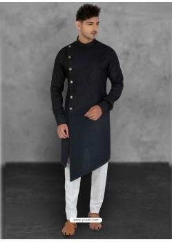 Black Designer Festive Wear Cotton Kurta Pajama For Men