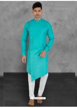 Sky Blue Designer Festive Wear Cotton Kurta Pajama For Men
