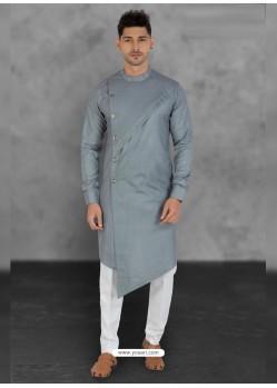 Silver Designer Festive Wear Cotton Kurta Pajama For Men