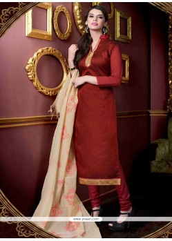 Beauteous Maroon Embroidered Work Jacquard Churidar Salwar Kameez