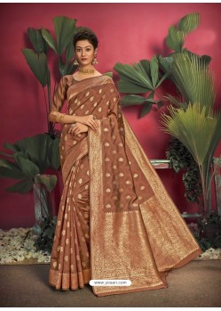 Brown Gorgeous Designer Party Wear Jacquard Silk Sari