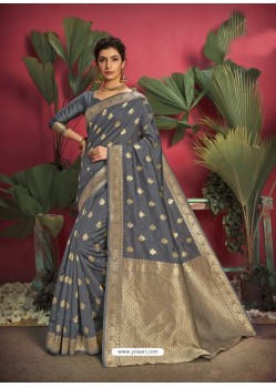 Grey Gorgeous Designer Party Wear Jacquard Silk Sari