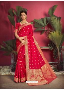 Red Gorgeous Designer Party Wear Jacquard Silk Sari