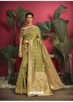 Mehendi Gorgeous Designer Party Wear Jacquard Silk Sari