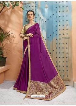 Purple Designer Party Wear Soft Georgette Sari