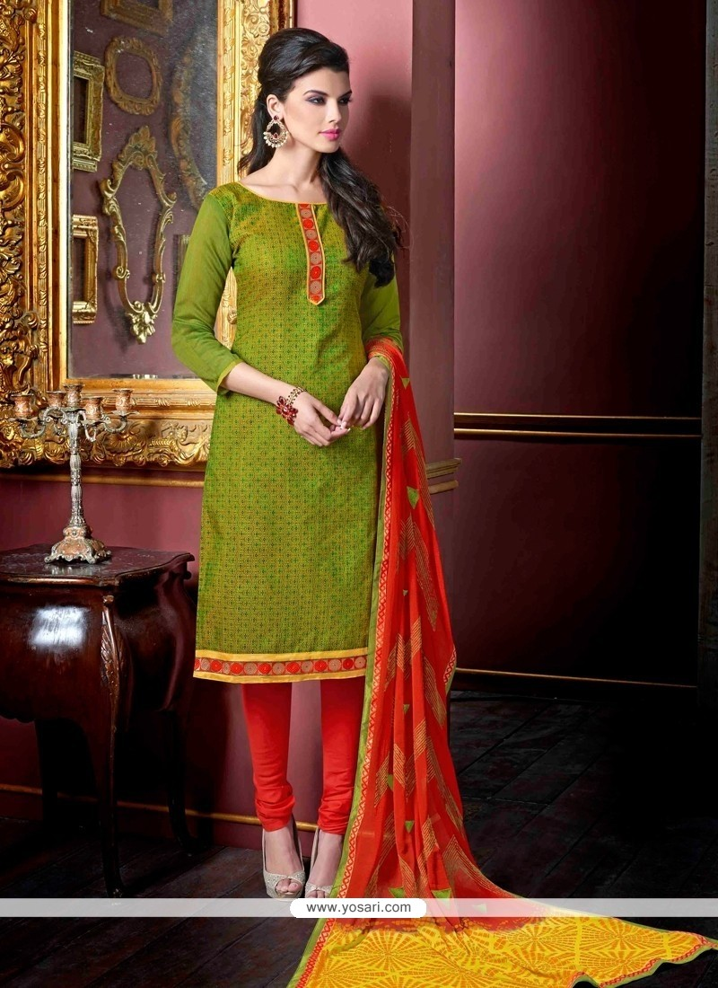 Noble Green Lace Work Jacquard Churidar Suit