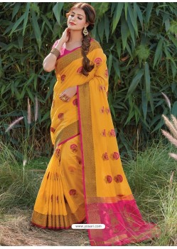 Yellow Designer Party Wear Cotton Handloom Sari