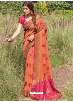 Orange Designer Party Wear Cotton Handloom Sari