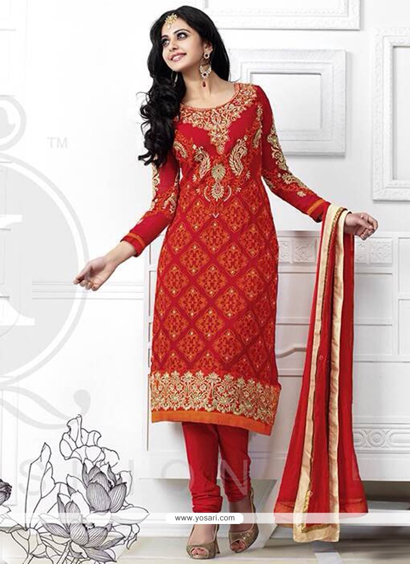 Observable Red Georgette Churidar Salwar Suit