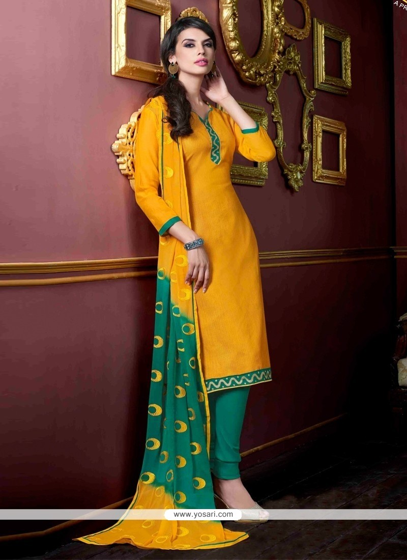 Distinctive Yellow Jacquard Churidar Salwar Suit