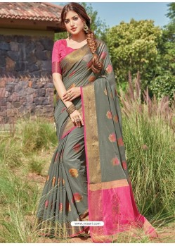 Grey Designer Party Wear Cotton Handloom Sari