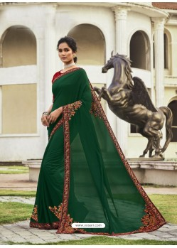 Dark Green Fabulous Designer Party Wear Chanderi Silk Sari