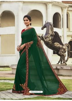 Dark Green Fabulous Designer Party Wear Chanderi Silk Sari
