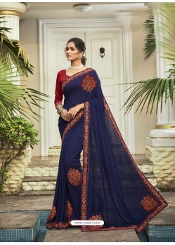 Dark Blue Fabulous Designer Party Wear Chanderi Silk Sari