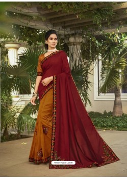Mustard Fabulous Designer Party Wear Chanderi Silk Sari