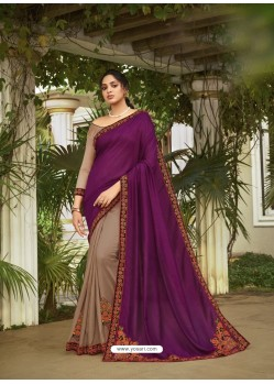 Beige Fabulous Designer Party Wear Chanderi Silk Sari