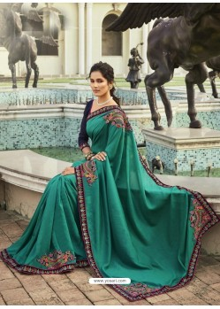 Aqua Mint Fabulous Designer Party Wear Chanderi Silk Sari