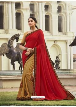 Red Fabulous Designer Party Wear Chanderi Silk Sari
