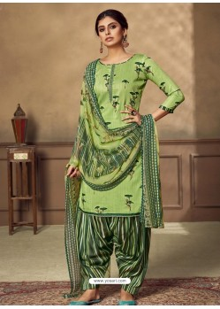 Green Designer Party Wear Pure Jam Punjabi Patiala Suit