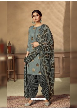 Grey Designer Party Wear Pure Jam Punjabi Patiala Suit