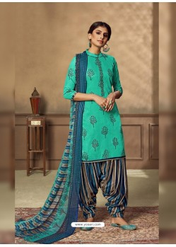 Aqua Mint Designer Party Wear Pure Jam Punjabi Patiala Suit