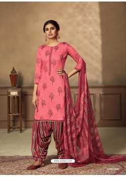 Light Red Designer Party Wear Pure Jam Punjabi Patiala Suit