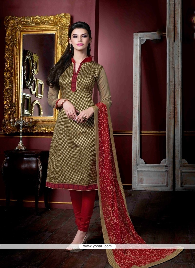 Desirable Lace Work Jacquard Beige Churidar Salwar Kameez