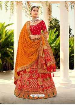 Red Ravishing Heavy Embroidered Designer Wedding Wear Lehenga Choli