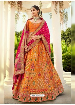 Orange Ravishing Heavy Embroidered Designer Wedding Wear Lehenga Choli