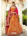 Orange Ravishing Heavy Embroidered Designer Wedding Wear Lehenga Choli