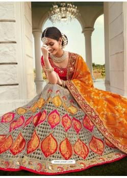 Grey Ravishing Heavy Embroidered Designer Wedding Wear Lehenga Choli