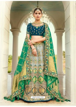 Grey Ravishing Heavy Embroidered Designer Wedding Wear Lehenga Choli