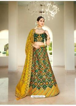 Dark Green Ravishing Heavy Embroidered Designer Wedding Wear Lehenga Choli
