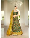 Dark Green Ravishing Heavy Embroidered Designer Wedding Wear Lehenga Choli
