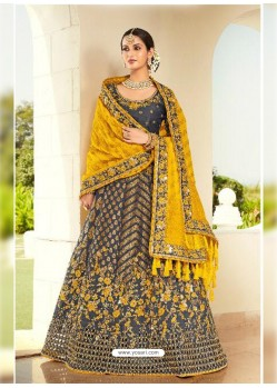 Dark Grey Ravishing Heavy Embroidered Designer Wedding Wear Lehenga Choli