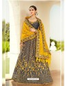 Dark Grey Ravishing Heavy Embroidered Designer Wedding Wear Lehenga Choli