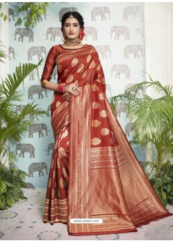Red Designer Party Wear Art Silk Sari