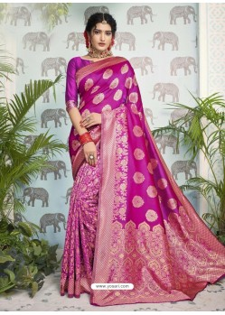 Magenta Designer Party Wear Art Silk Sari