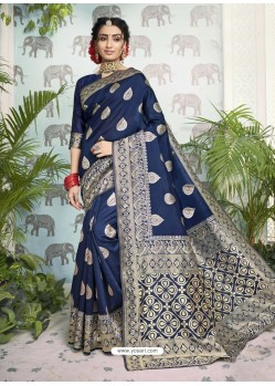 Navy Blue Designer Party Wear Art Silk Sari
