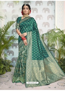 Teal Designer Party Wear Art Silk Sari