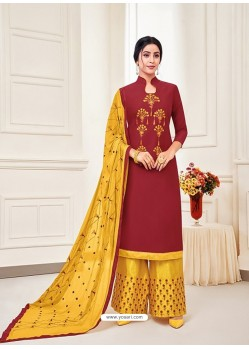 Maroon Classy Heavy Designer Party Wear Straight Salwar Suit
