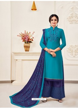 Turquoise Classy Heavy Designer Party Wear Straight Salwar Suit