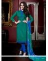 Talismanic Green Lace Work Jacquard Churidar Salwar Kameez